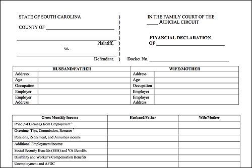 How To Fill Out A South Carolina Financial Declaration Form For